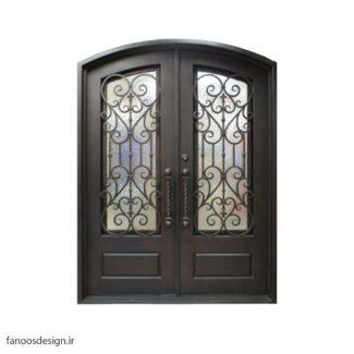 درب فلزی، درب حیاطی، درب حیاط، درب نفر رو، درب فرفوژه فلزی، درب فلزی کلاسیک فرفوژه کد 509