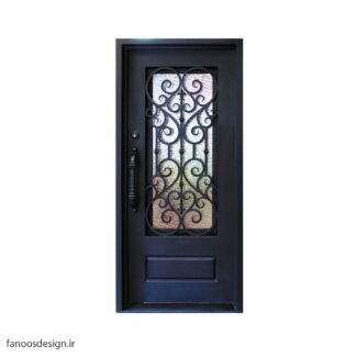 درب فلزی، درب حیاطی، درب حیاط، درب نفر رو، درب فرفوژه فلزی، درب فرفوژه فلزی لوکس تک لنگه و شیشه خور کد 503
