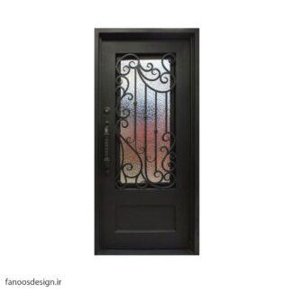 درب فلزی، درب حیاطی، درب حیاط، درب نفر رو، درب فرفوژه فلزی، درب فرفوژه لوکس فلزی تگ لنگه کد 507