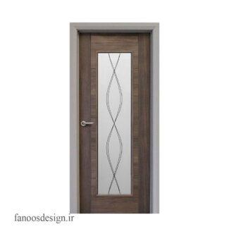 درب تمام چوب و شیشه خور کد 3012